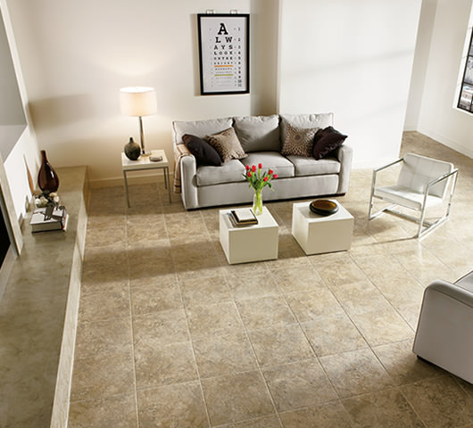 Example of how light laminate flooring could look in a living room in Saskatoon