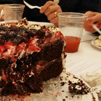 Thumbnail of The giant black forest cake that we bought and did our best to finish